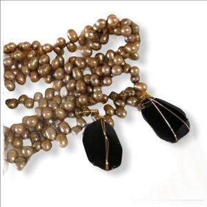 """ONYX GOLD PEARLS LARIAT NECKLACE PENDANT 50"""""""
